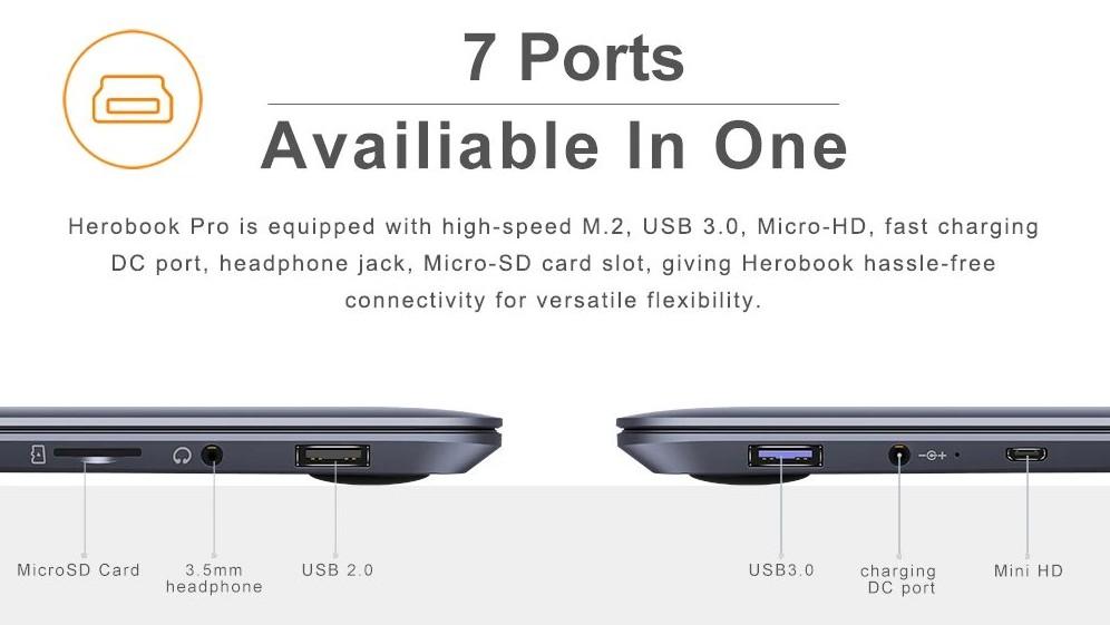 Chuwi HeroBook Pro - Ports