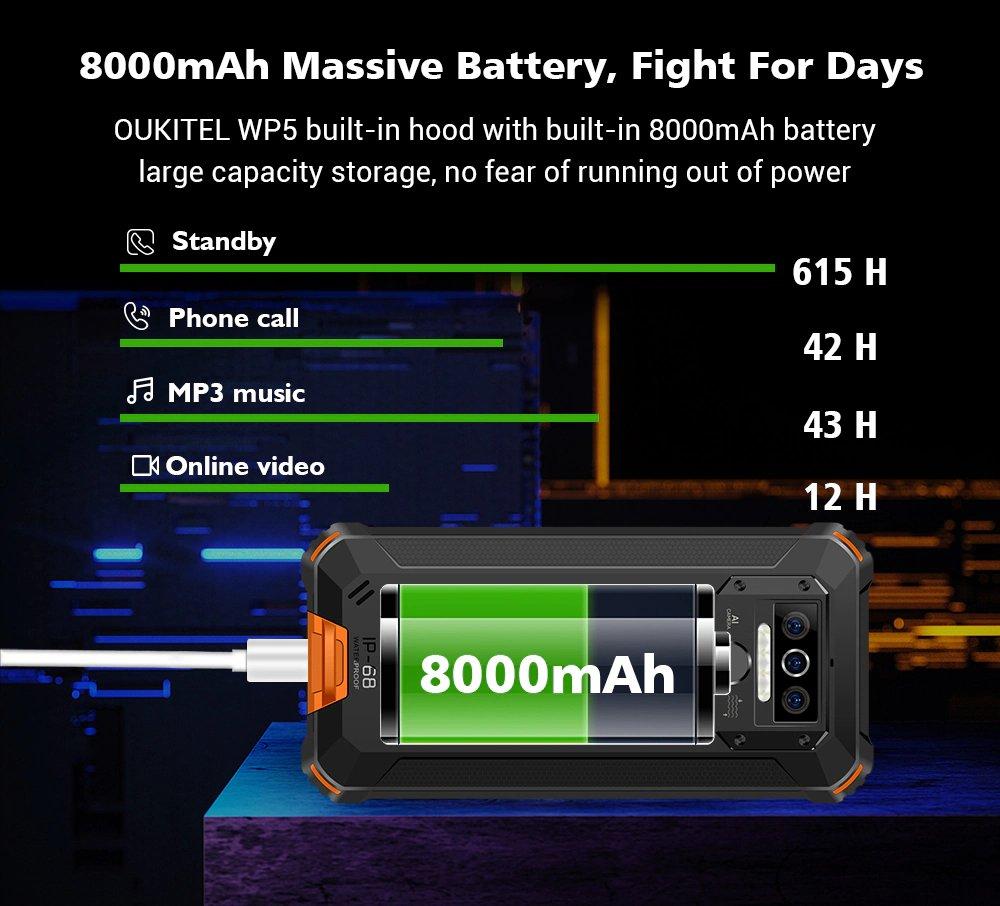 Oukitel WP5 - 8000 mAh akkumulátor