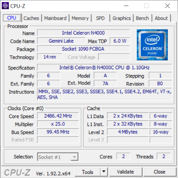 Chuwi HeroBook Pro - Celeron N4000 - CPU-Z