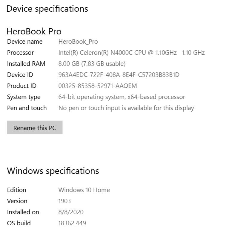 Chuwi HeroBook Pro - Windows 10 Home
