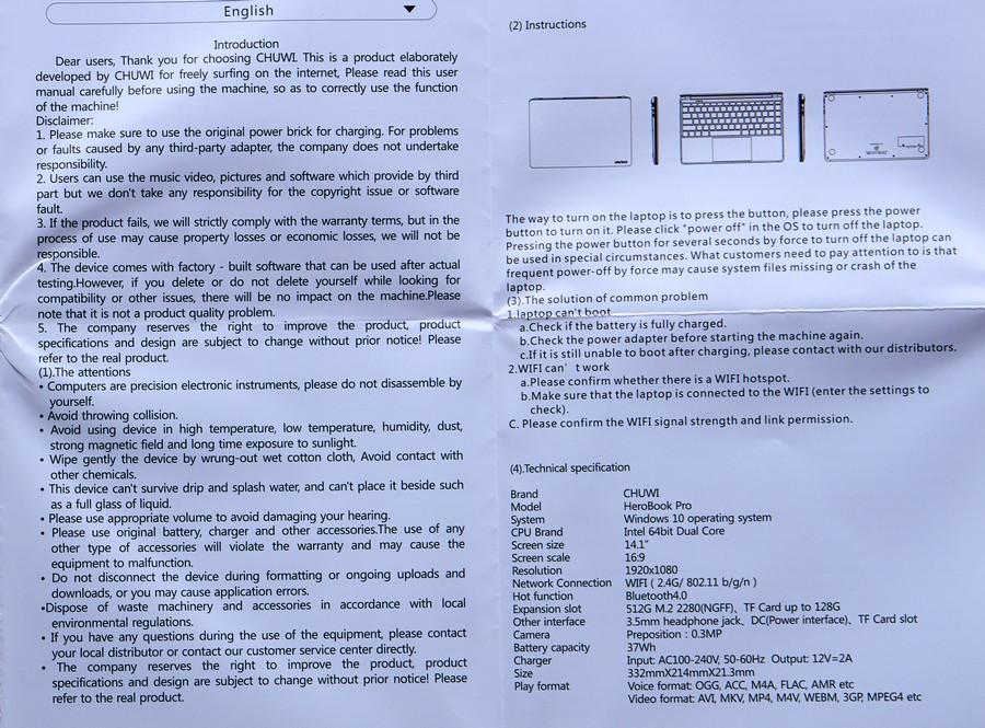 Chuwi HeroBook Pro - Manual
