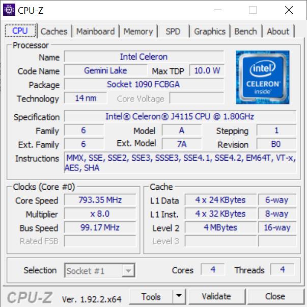 KUU Xbook - Celeron J4115 - CPU-Z