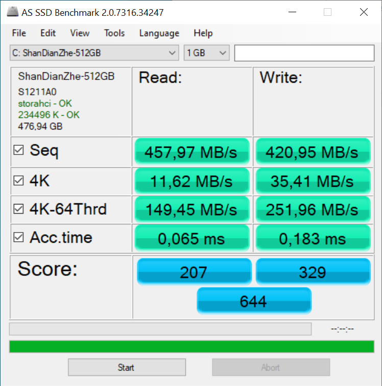 KUU XBook - AS SSD Benchmark