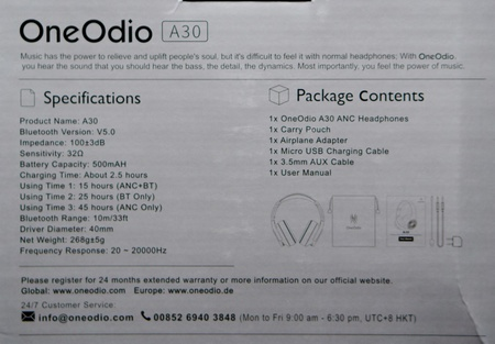 OneOdio A30 - unboxing